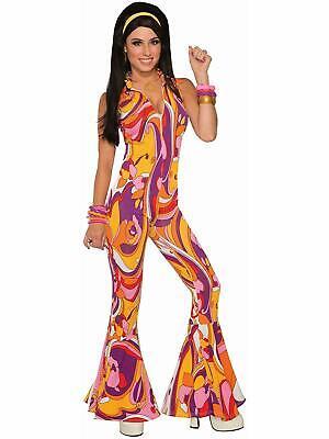 Funky Jumpsuit Lady 70's Disco Retro Fancy Dress Up Halloween Adult Costume (Dress Up Disco)