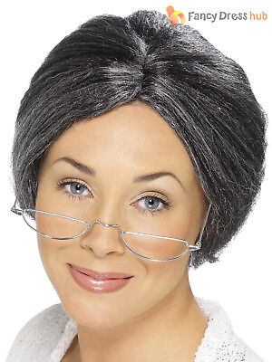 Adults Grey Granny Bun Wig Ladies Mens Fancy Dress Accessory Grandma Old Person](Old Person Costumes)