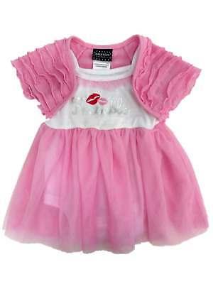 Baby Glam Infant Girl Kissable Creeper Pink Tulle Skirt Dress Caplet 2 -