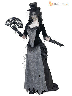 Ladies Zombie Black Widow Bride  Costume Victorian Ladies Halloween Fancy Dress