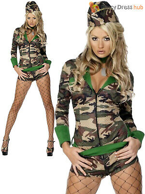 Ladies Fever Combat Chick Costume Adults Army Girl - Combat Girl Kostüme
