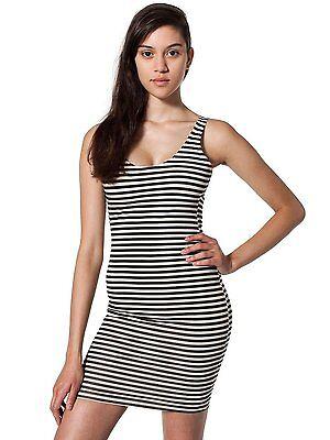 American Apparel Cotton Spandex Jersey Scoop Back Tank Dress Natural-Black Strp ()