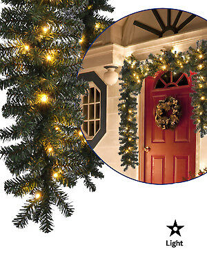 5m Pre Lit Pine Garland Warm White 80 LED Lights Christmas Decoration - Mantle Garland