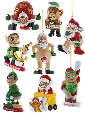 Bad Santa Hanging Decorations Funny Christmas Tree Xmas Bah Humbug Naughty Gift ()