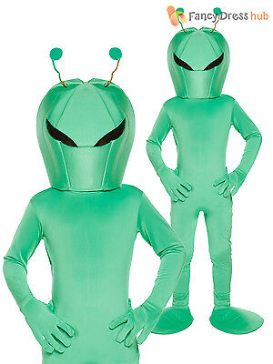Kids Green Alien Sci-FI Martian Costume Book Week Halloween Fancy Dress Boys