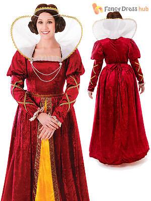 Adult Queen Elizabeth Costume Tudor Blackadder Ladies Womens Fancy Dress Outfit