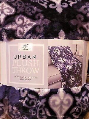 Throw Blanket Life Comfort Purple Medallions Urban Plush 60