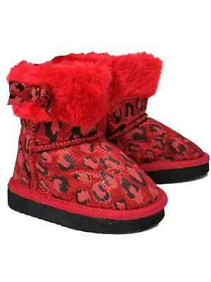 Toddler Infant Girls Red Leopard Glitter Faux Fur Ankle Boots Dress Crib Shoes](Toddler Leopard Dress)
