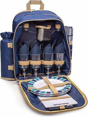 Picnic Backpack Hamper 4 Person Rucksack Set | Inc. Cutlery & Cooler