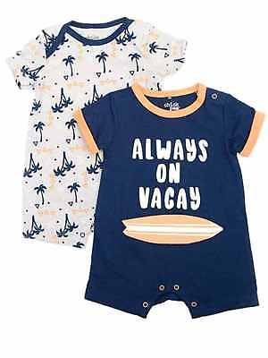 Chick Pea Infant Boys Palm Trees & Surf Baby Romper Vacay Bodysuit Outfits Chick Infant Bodysuit