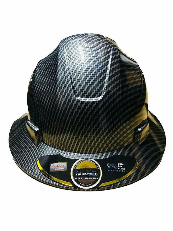 TRUECREST Hydro Dipped Black Full Brim Hard Hat with full size,