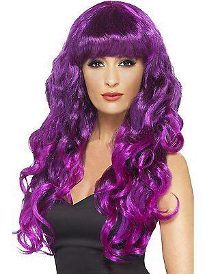 Purple Wig Halloween Costume (Womens Long Purple Wig Wavy Hair Bangs Bright Sexy Curly Costume Hair)