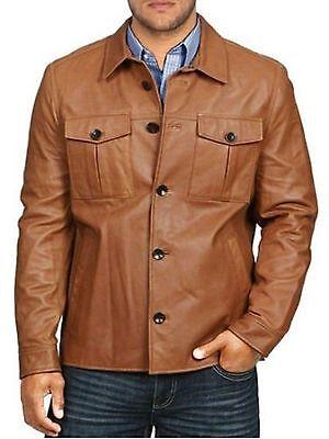 Vintage Hombres Diseñador Marrón Tostado Ajustado Cordero Real Cuero Abrigo U882