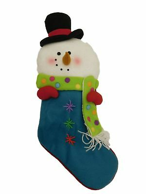 Plush Blue & White Glitter Felt Snowman Christmas Holiday Stocking Snow Man Blue White Plush Stocking