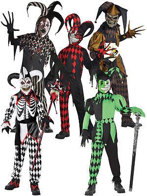 Boys Scary Clown Costume (Boys Evil Jester Costume Halloween Fancy Dress Scary Clown Joker Kids)