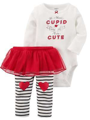 Carters Infant Girls Valentine Baby Outfit Who Needs Cupid Bodysuit & Pants NB