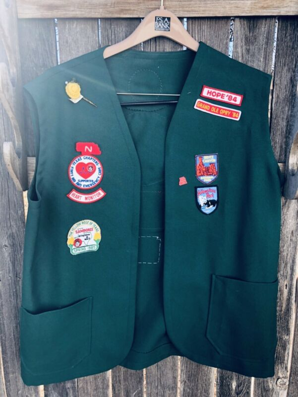 Vintage Adult Vest Covered in Patches Travel Collectible Green