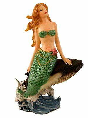 "Blond Mermaid  with Whale 8"" X 5"" X 4""  resin handpainted figurine"