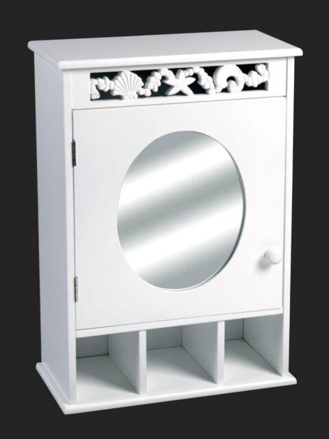SEASHELL DESIGN BATHROOM WOODEN STORAGE CABINET-White (WALL MIRROR)-BR084