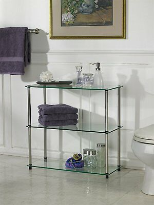 (Glass Book Case Shelves Clear Open Display Home Office Low Table Rack 3 Shelf)