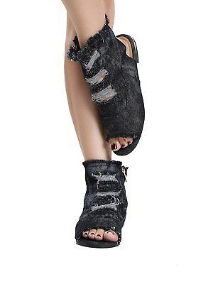 Womens Ripped Denim Open Toe Side Zipper Flat Sandals Booties Bamboo Cure 08 Denim Open Toe Sandals
