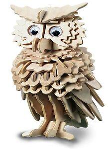 Owl: Woodcraft Quay Construction Wooden 3D Model Kit E038 Age 7 plus