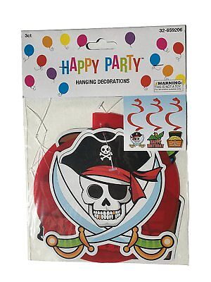 3 Pirate Hanging Decorations With Pirate Skulls Treasure Chest and Bird