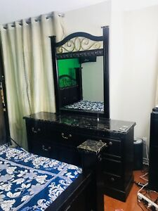 Queen size bed frame and matters with night table