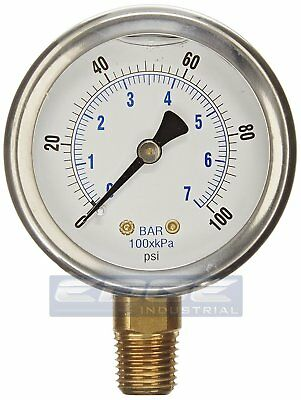 Liquid Filled Pressure Gauge 0-100 Psi 2.5 Face 14 Npt Lower Mount Wog