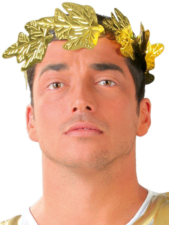 mens roman julius caesar gold leaf crown headdress fancy dress
