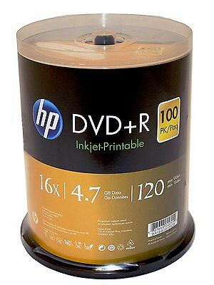 100 HP 16X Blank DVD+R DVDR 4.7GB White Inkjet Printable Disc Spindle EXPEDITED