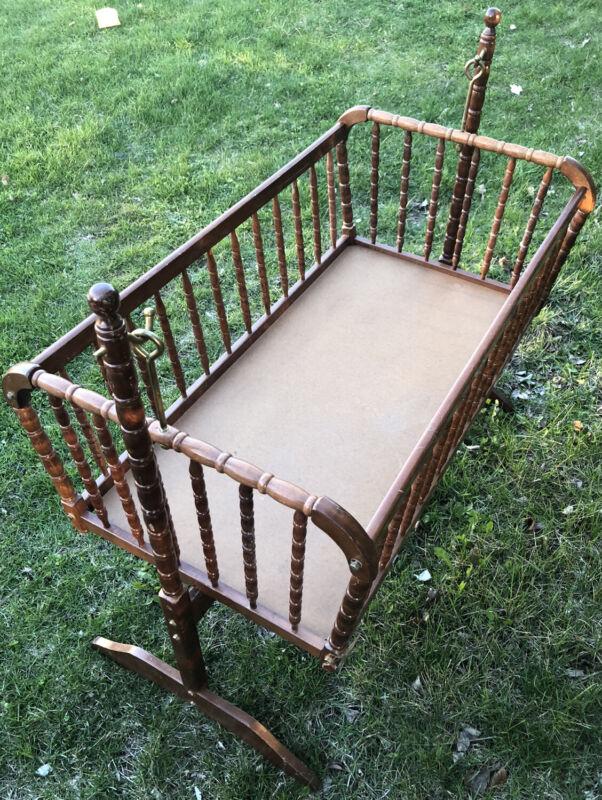 "Vintage Jenny Lind Heirloom Wooden Baby Bassinet Swing Cradle 40.5x36"" Walnut"