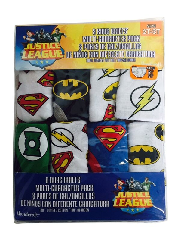 Justice League Boys Cotton Briefs 8 Pack Underwear Toddler Size 2T-3T