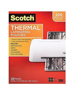 3m Scotch 3 Mil 8.9 X 11.4 Thermal Laminating Pouches 200 Pack Tp3854-200