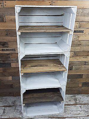 3 x weiße Holzkisten - Weinkisten - Obstkisten mit Zwischenregal Schuhschrank