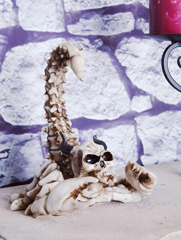 "Ebros Gothic Giant Scorpion Skeleton with Horned Demon Skull Statue 7.25"" Tall"