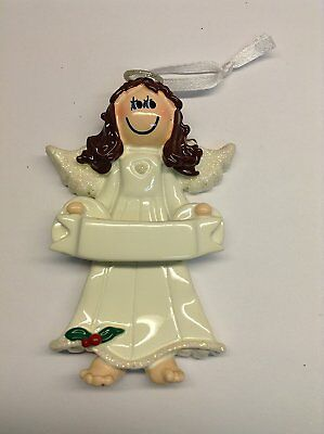 Angel Banner Brown Personalized Christmas Tree Ornament