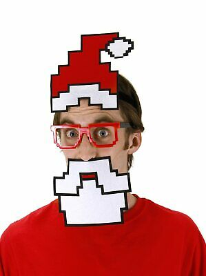 Adult Pixel-8 8-Bit Holiday Pixel Santa Hat Glasses - Pixel Santa Kit