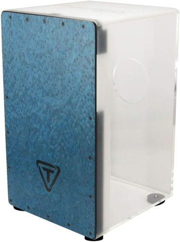 Tycoon Percussion Clear Acrylic Cajon with Blue Makah Burl Frontplate