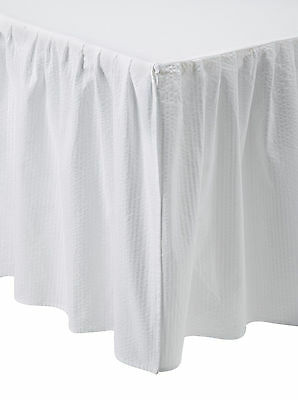 WHITE SEERSUCKER Queen BED SKIRT : COUNTRY COTTAGE CHIC DUST RUFFLE - Cottage White Queen