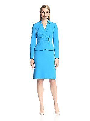 [13 24-1]Tahari ASL Asymmetrical Jacket Skirt Suit Ocean Blue Miami Mood Size 8P