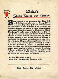 Ulster's Solemn League and Covenant A3 Size Poster (12th of July, Orange Order.