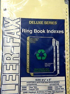 "Kleer-Fax ""A to Z"" Tab Index, Fits 9 1/2"" x 6"" 3 Ring Binder"