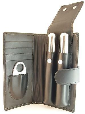 Mrs. Brog Leather Cigar Gift Set, 2 Humidor Tubes, Stainless Steel Cigar Cutter Cigar Tube Gift