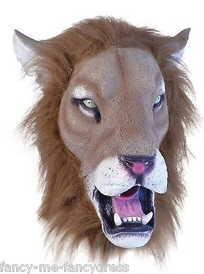 Mens Ladies Furry Lion Rubber Mask Animal Halloween Fancy Dress Costume Outfit - Mens Lion Halloween Costume