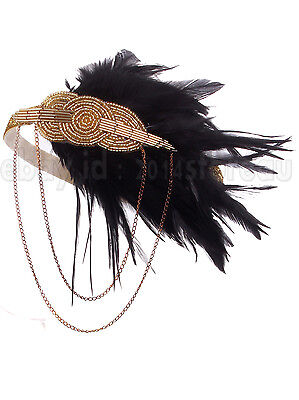 Gold&Black Feather Beaded Vintage Headband 1920s Flapper Great Gatsby Headpiece