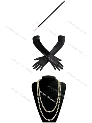 Black Gloves+Necklace+Holder