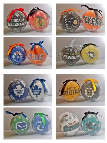 "NHL Ice Hockey Large 3"" LED Light Up Christmas Tree Bauble Ball Ornament"