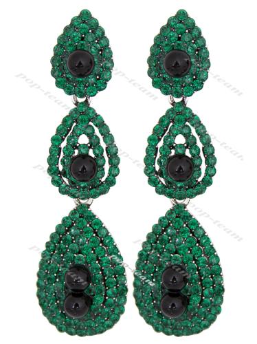 Green Drop Dangle Earrings