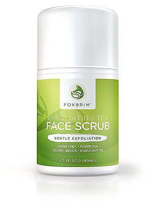 Foxbrim Exfoliating Tea Face Scrub Green & White Tea, Jojoba, Kukui Nut - 1.7OZ